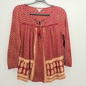 Lucky Brand Rustic Red and Gold Blouse